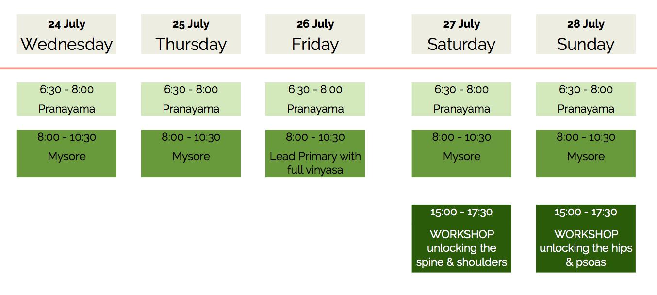 Workshop Schedule - Ashtanga yoga workshop Rolf & Marci Naujokat | TULA yoga Amsterdam